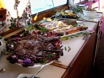 Buffet aboard the Seeker on a office party cruise.